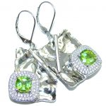 Modern Design Ganuine Peridot Hammered Sterling Silver earrings