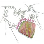 Lady Elegance Pink Opal & Created Pink Sapphire Sterling Silver necklace