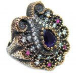 Victorian Style! Royal Blue Sapphire & Ruby & White Topaz Sterling Silver Ring s. 6
