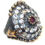 Victorian Style Red Ruby & White Topaz Sterling Silver Ring s. 7