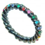 Pale Beauty! Multicolor Quartz Sterling Silver Ring s. 7 1/4 / Band