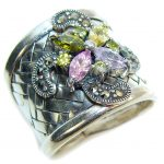 Fabulous Multicolor Quartz & Marcasite Sterling Silver Ring s. 8 – adjustable