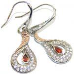 Delicate Red Garnet Sterling Silver earrings