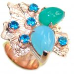 Beautiful Style! Green – Blue Agate, Rose & Gold Plated Sterling Silver Ring s. 6