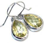 Genuine Yellow Citrine Sterling Silver Earrings