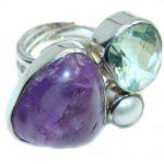 Big! Amazing Green & Purple Amethyst Sterling Silver Ring s. 6 – adjustable