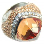 Big! Very Beautiful Created Golden Topaz & White Topaz Sterling Silver ring s. 6