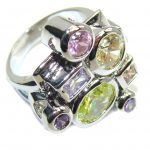 Amazing Multicolor Cubic Zirconia Sterling Silver Ring s. 7