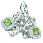 Beautiful Green Peridot & White Topaz Sterling Silver earrings
