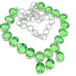 Fresh Island Created Green Peridot Sterling Silver necklace