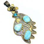 Majestic AAA Larimar Gold Rhodium Plated Sterling Silver Pendant