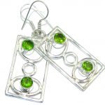 Amazing Created Peridot Sterling Silver Earrings