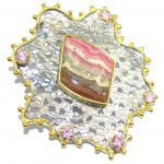 Big! Amazing AAA Pink Rhodochrosite, Gold Plated Sterling Silver Pendant