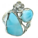Genuine AAA Blue Larimar Sterling Silver Ring s. 7 1/2