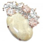 Spinder's Web Fossilized Coral Citrine Gold over Sterling Silver pendant