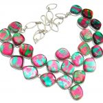 Giant Secret Path Bohemian Style glass Sterling Silver Necklace
