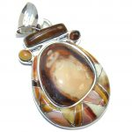 Secret Beauty Mexican Fire Opal Sterling Silver Pendant