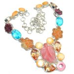 Ray Of Light Golden Calcite & Blister Pearl Sterling Silver necklace
