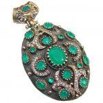 Perfect created Emerald & White Topaz Sterling Silver Pendant