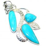 Sleeping Beauty Blue Turquoise Sterling Silver Pendant