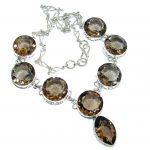 Beautiful India Charm Champagne Smoky Quartz Sterling Silver necklace