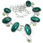 Very Unusual AAA Green Malachite Sterling Silver necklace