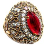 Huge Victorian Style created Ruby & White Topaz Sterling Silver ring; s. 9