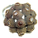 Victorian Style created Ruby & White Topaz Sterling Silver ring; s. 9 1/4
