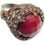 Huge Victorian Style created Ruby & White Topaz Sterling Silver ring; s. 8