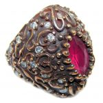 Victorian Style created Ruby & White Topaz Sterling Silver ring; s. 5 1/2