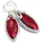 True Love Red Garnet color Quartz Sterling Silver earrings
