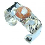 Outstanding Quality AAA Mexican Fire Opal Sterling Silver Bracelet / Cuff