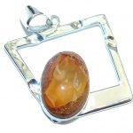 Secret Beauty Modern Mexican Fire Opal Sterling Silver Pendant