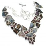Very Chunky Design Dendritic Agate Smoky Topaz Sterling Silver necklace