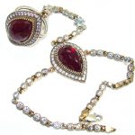 Victorian Style created Ruby Ring and Bracelet in one Streling Silver Set
