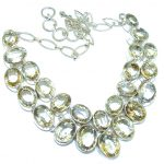 Light Of Love AAA Genuine faceted Citrine Sterling Silver Necklace