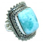 Amazing AAA quality Blue Larimar Oxidized Sterling Silver Ring size resizable