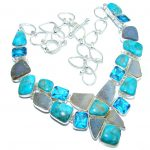 Ocean Blue Beauty AAA Turquoise Agate Druzy Sterling Silver Necklace