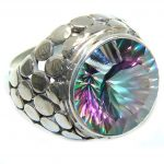 Exotic Rainbow Magic Topaz Sterling Silver Ring s. 6 1/4