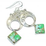 Just Perfect AAA Green Turquoise Sterling Silver earrings