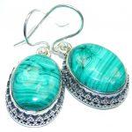 New Amazing Design AAA Green Malachite Sterling Silver earrings