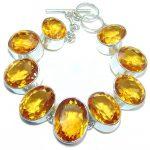 Amazing Flawless Golden Quartz Sterling Silver Bracelet