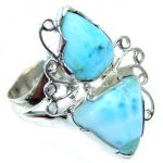 Huge Amazing AAA quality Blue Larimar Sterling Silver Ring size 7
