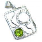 Modern Concept Genuine Green Peridot Sterling Silver Pendant