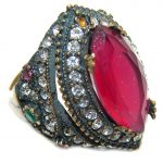 Victorian Style created Ruby & White Topaz Sterling Silver ring; s. 7 3/4