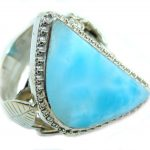 Sublime quality Blue Larimar Sterling Silver Ring size 9 1/4