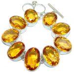 Gorgeous Designs Golden Quartz Sterling Silver Bracelet