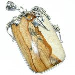 Huge Incredible natural pattern AAA+ Picture Jasper Sterling Silver handcrafted Pendant