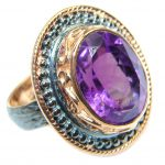 Amethyst Rose Gold Sterling Silver handcrafted Ring size 7