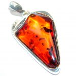 Unique Design Golden natural Baltic Amber Sterling Silver Pendant